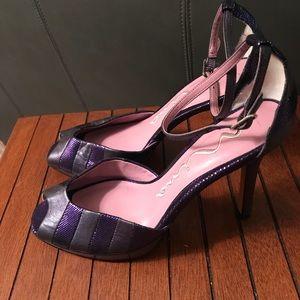 Nina purple leather heel